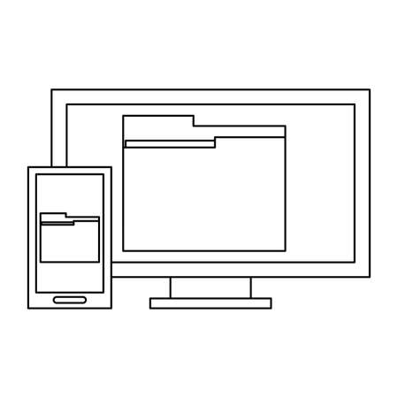 Computer and smartphone with folders vector illustration graphic design