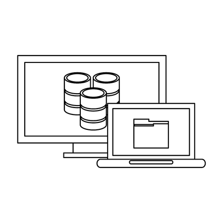 Computer and laptop with folder and database vector illustration graphic design Иллюстрация