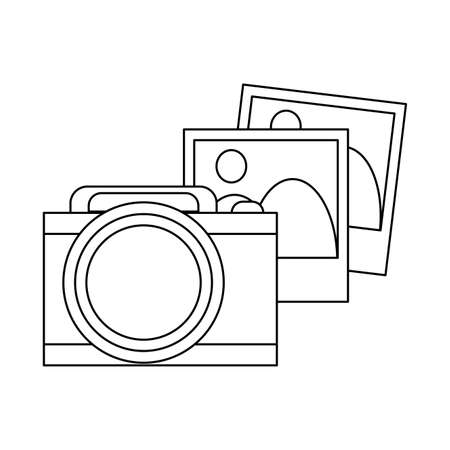 Photographic camera and pictures vector illustration graphic design
