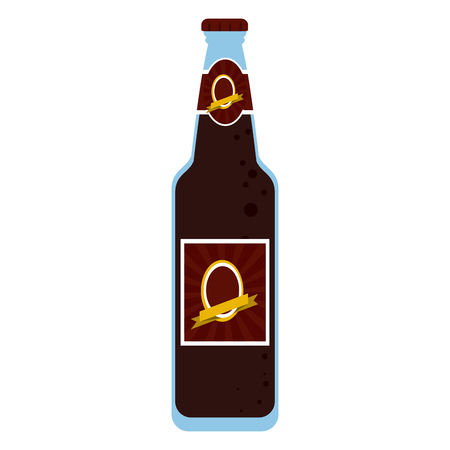 Beer bottle with label vector illustration graphic design