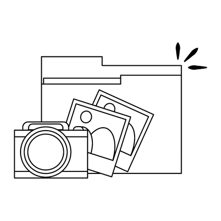 folder with pictures and camera symbol vector illustration graphic design
