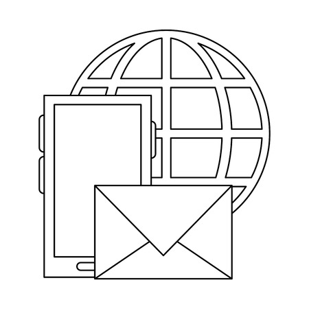 smartphone email sending with global sphere vector illustration graphic design