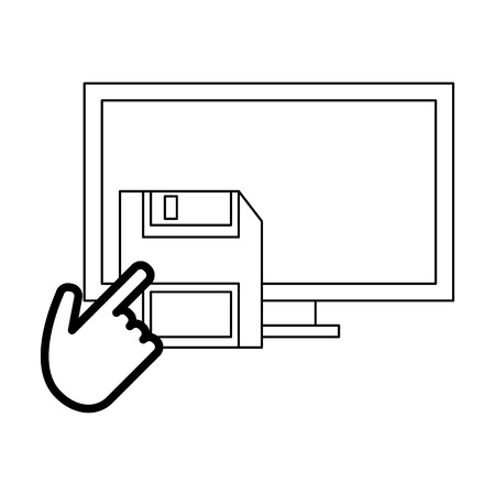 computer with diskette and cursor vector illustration graphic design