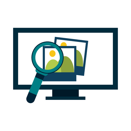 computer with photos and magnifying glass vector illustration graphic design Illusztráció