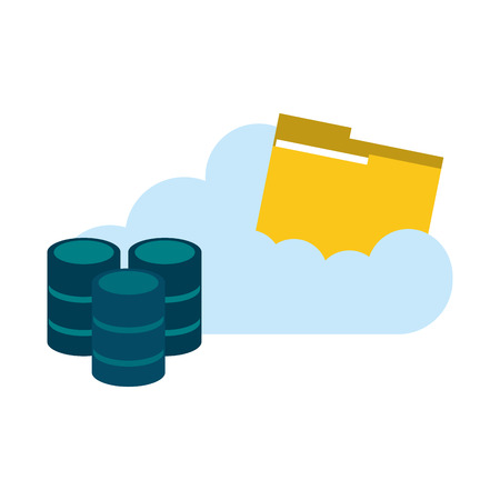 Cloud computing with folder and disks vector illustration graphic design
