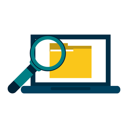 Laptop with folder and magnifying glass vector illustration graphic design