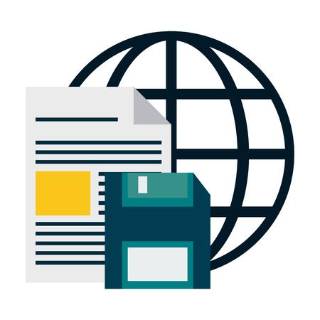 document and diskette over global sphere vector illustration graphic design Illustration