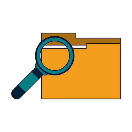 magnifying glass on folder vector illustration graphic design 向量圖像