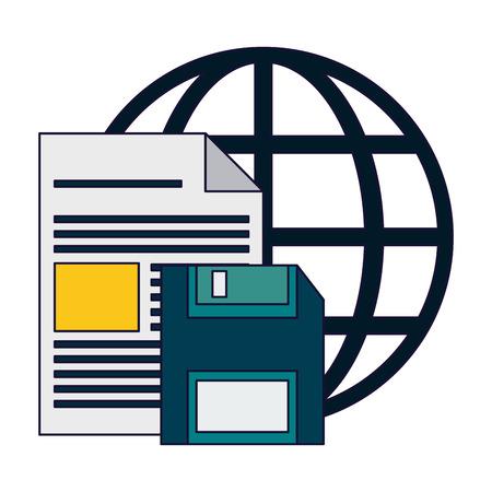 document and diskette over global sphere vector illustration graphic design Ilustração