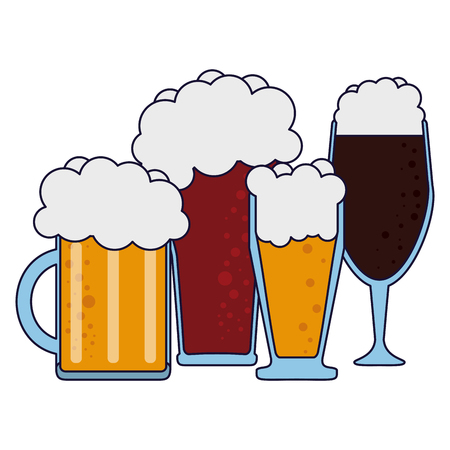 Set of types of beer in cups vector illustration graphic design