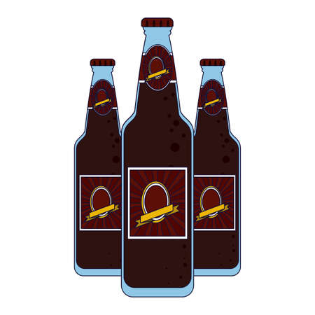 Set of beer label bottles vector illustration graphic design