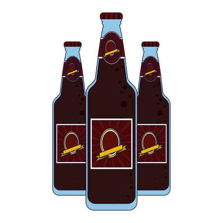Set of beer label bottles vector illustration graphic design
