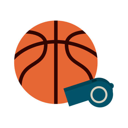Basketball ball and whistle vector illustration graphic design Illustration