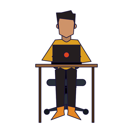 Young man seated with laptop on desk vector illustration graphic design