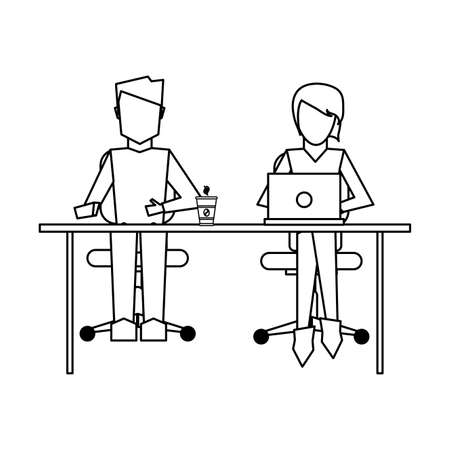 Coworkers seated with laptop on desk vector illustration graphic design