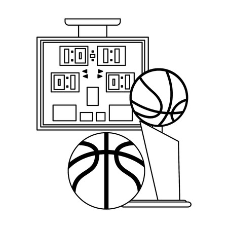 Basketball scoring and ball with trophy cup vector illustration graphic design