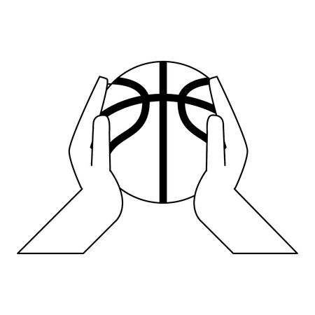 Hands with basketball ball vector illustration graphic design Illustration