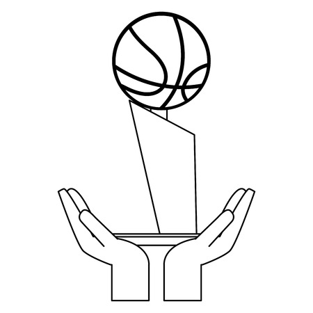 Hands with basketball trophy cup vector illustration graphic design