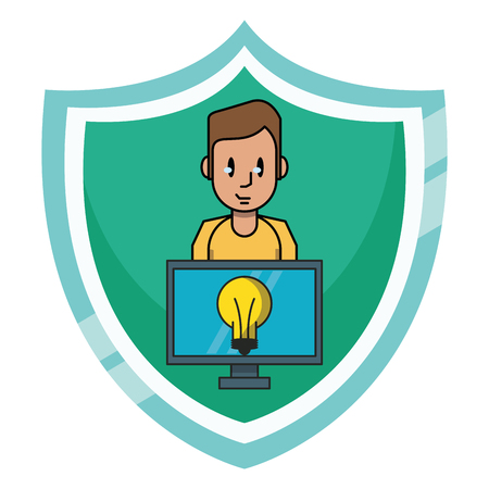 Man with idea on computer over badge emblem icon vector illustration graphic design
