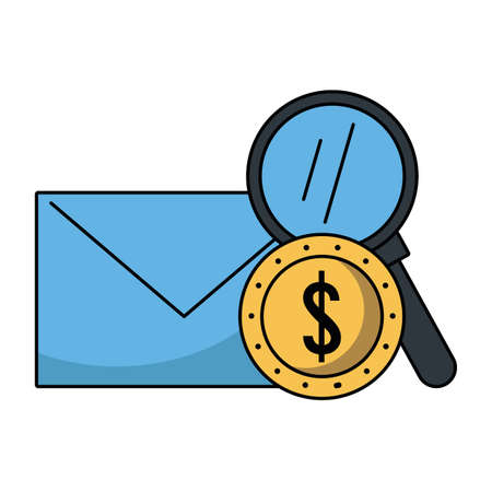 Envelope and coin with magnifying glass vector illustration graphic design 向量圖像