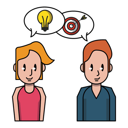 Teamwork talking business ideas and goals vector illustration graphic design