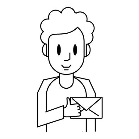 Man with envelope cartoon black and white vector illustration graphic design Illustration
