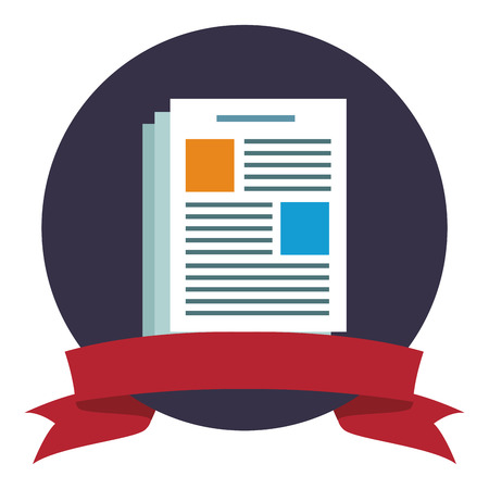 Document sheet symbol round emblem ribbon banner vector illustration graphic design