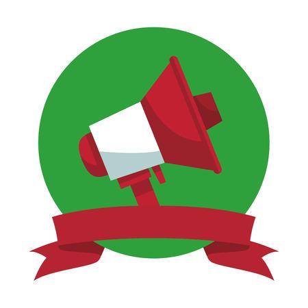 Bullhorn advertising symbol round emblem ribbon banner vector illustration graphic design