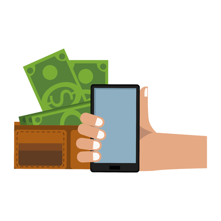 Online shopping and payment from smartphone vector illustration graphic design Illustration