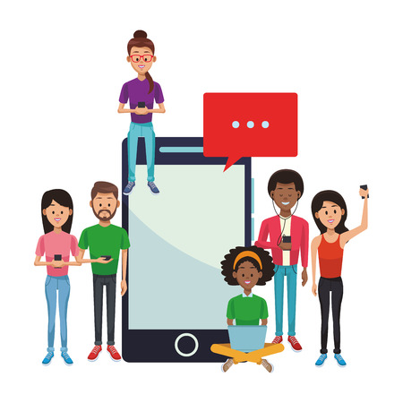 Young people with smartphones and laptop vector illustration graphic design