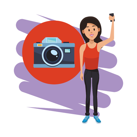 Woman using smartphone to take a selfie and camera round icon over grunge background vector illustration graphic design