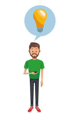Man using smartphone with big idea vector illustration graphic design Illustration