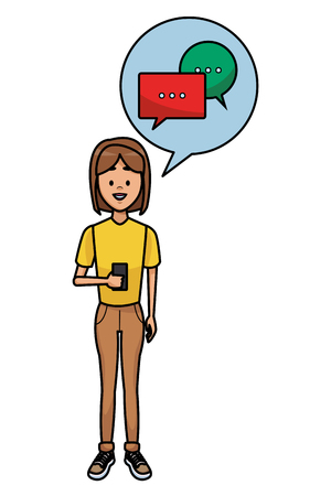 Young Woman using smartphone with chat bubble vector illustration graphic design