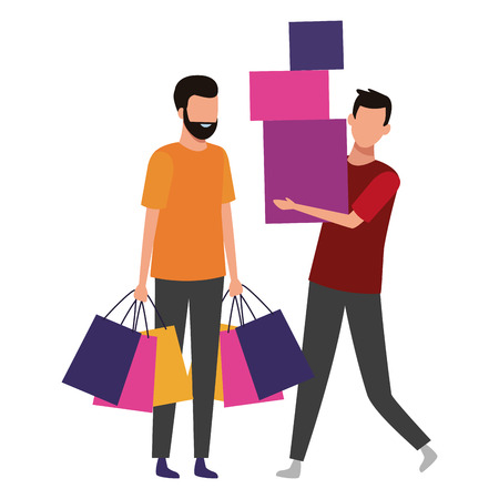 Male friends with shopping bags cartoon vector illustration graphic design  イラスト・ベクター素材