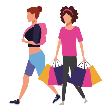 Female friends with shopping bags cartoon vector illustration graphic design  イラスト・ベクター素材
