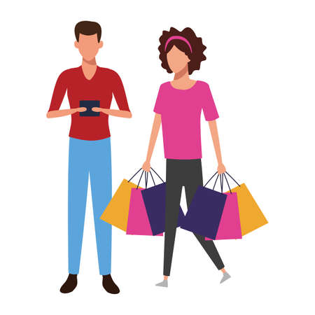 Couple with shopping bags and gifts cartoon vector illustration graphic design Illustration