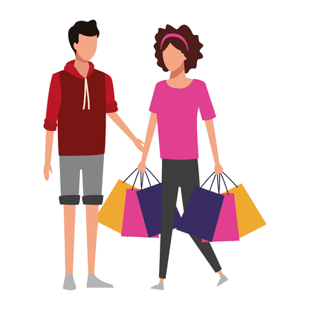 Couple with shopping bags and gifts cartoon vector illustration graphic design Ilustracja