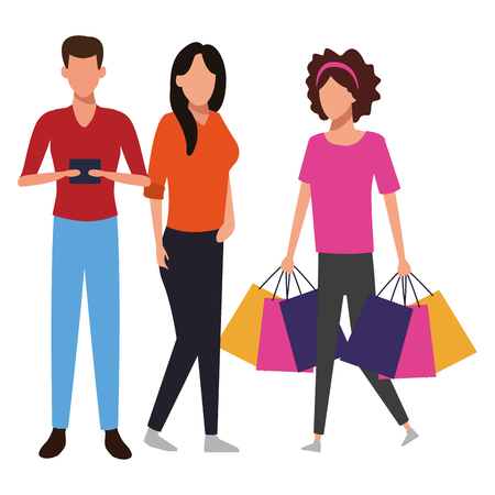 People with shopping bags and smartphone cartoon vector illustration graphic design