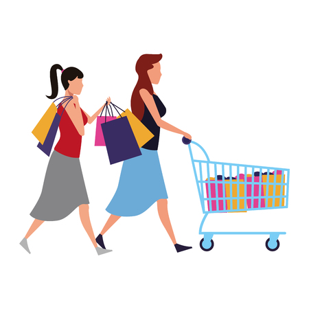women with shopping cart and bags cartoon vector illustration graphic design