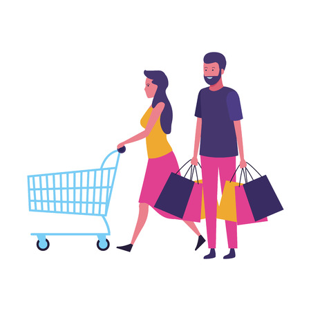 Couple with shopping bags and cart cartoon vector illustration graphic design