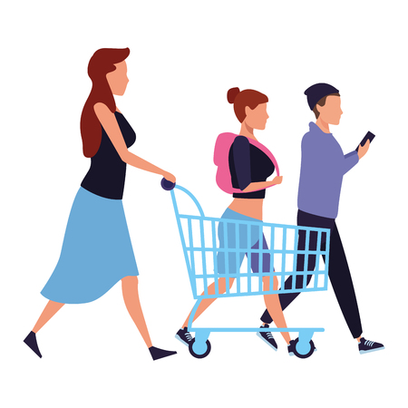 mother pushing shopping cart and youngs walking cartoon vector illustration graphic design