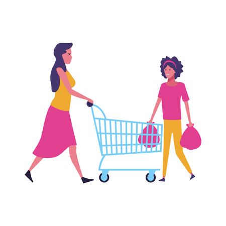 mother pushing shopping cart and daugther with bags cartoon vector illustration graphic design  イラスト・ベクター素材