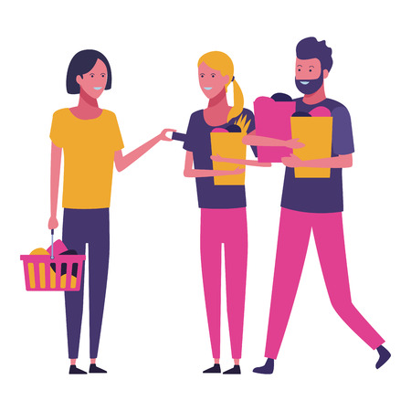 friends shopping bags and basket cartoon vector illustration graphic design  イラスト・ベクター素材