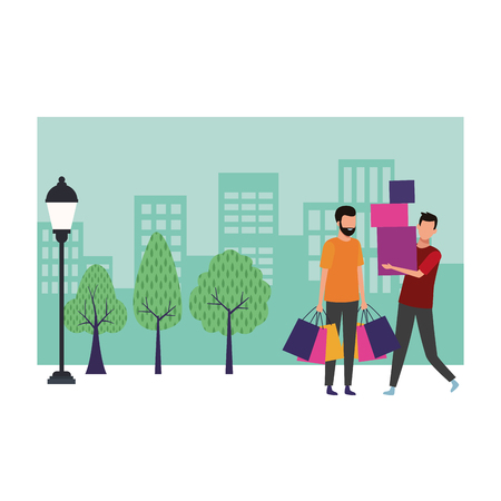 Male friends with shopping bags cartoon at cityscape scenery vector illustration graphic design  イラスト・ベクター素材