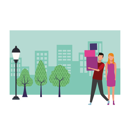 Couple with shopping bags and gifts cartoon at cityscape scenery vector illustration graphic design