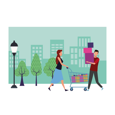 Couple with shopping bags and gifts cartoon at cityscape scenery vector illustration graphic design 写真素材 - 127695443