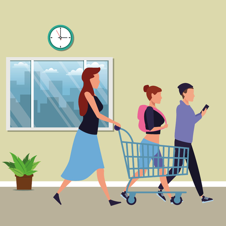 mother pushing shopping cart and youngs walking cartoon inside mall building vector illustration graphic design
