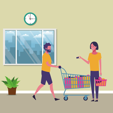 Couple with shopping bags and cart cartoon inside mall building vector illustration graphic design
