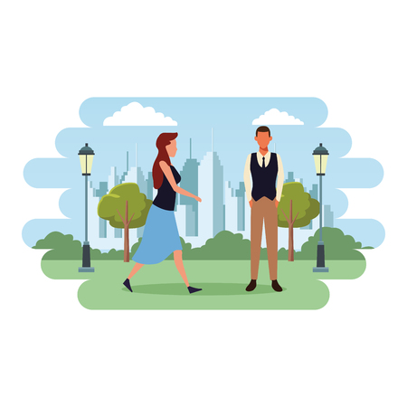 Couple with shopping bags and cart cartoon at cityscape scenery vector illustration graphic design  イラスト・ベクター素材