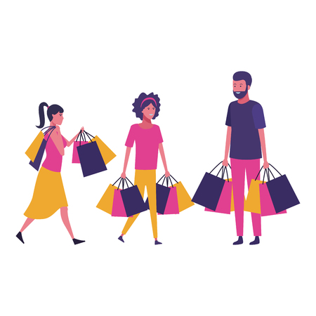 People walking with shopping bags cartoon vector illustration graphic design